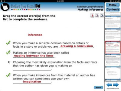 Reading Comprehension - Screenshot